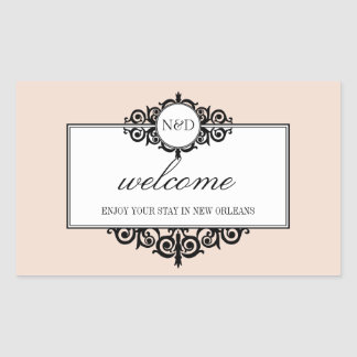 French frame pink monogram out of town gift bag rectangular sticker