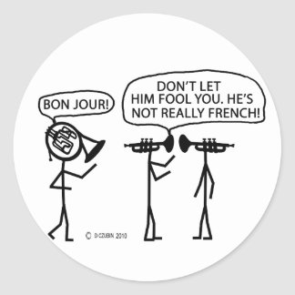 French French Horn Classic Round Sticker