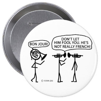 French French Horn Pinback Button