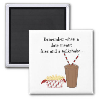 French Fries and a Milkshake 2 Inch Square Magnet