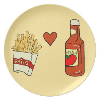 French Fries and Ketchup Plate