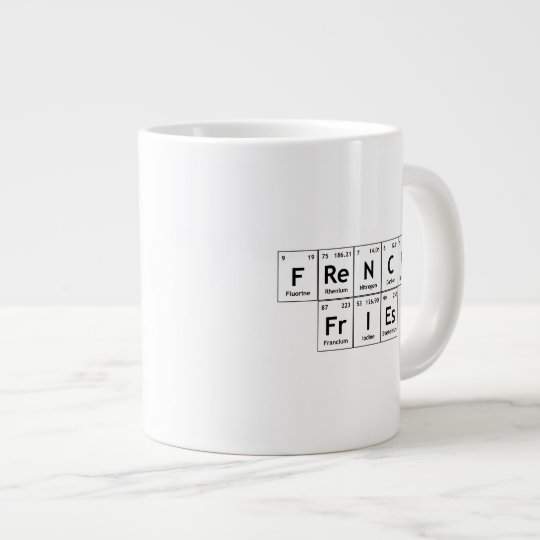 French Fries Chemistry Periodic Table Word Element Giant Coffee Mug