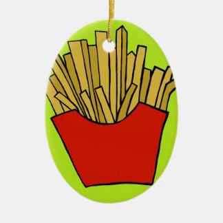 French fries design ceramic ornament
