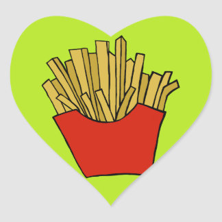 French fries design heart sticker