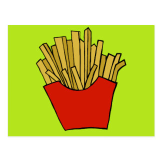 French fries design postcard