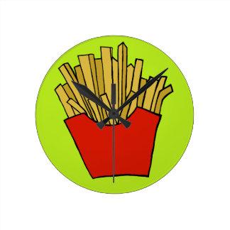 French fries design round clock
