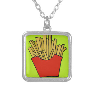 French fries design square pendant necklace