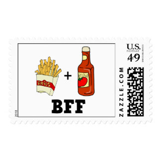 French fries & Ketchup BFF Postage Stamp