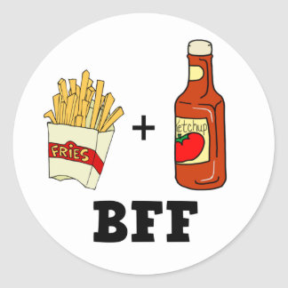 French fries Ketchup BFF Round Stickers
