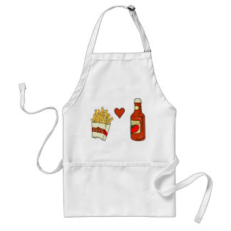 French Fries Love Ketchup Adult Apron