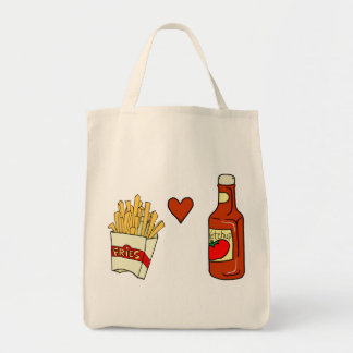 French Fries Love Ketchup Canvas Bags