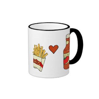 French Fries Love Ketchup Ringer Mug