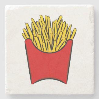 French Fries Potato Fry Sticks Yum Art Drawing Red Stone Coaster