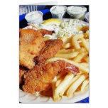 French Fries Shrimp Crab Cakes Fish Tartar Greeting Card