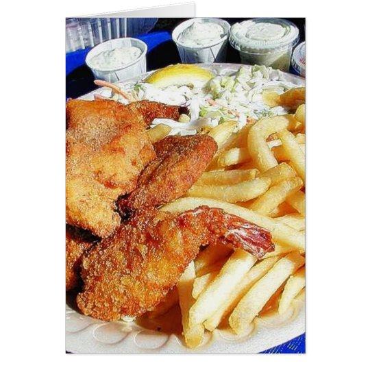 French Fries Shrimp Crab Cakes Fish Tartar Card