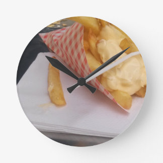 French Fries with mayonnaise Round Clock