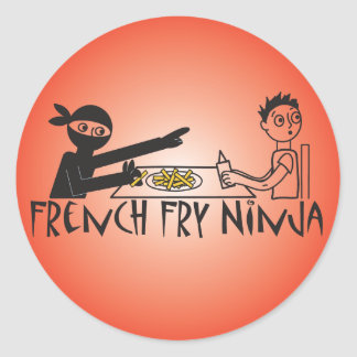 French Fry Ninja Round Sticker
