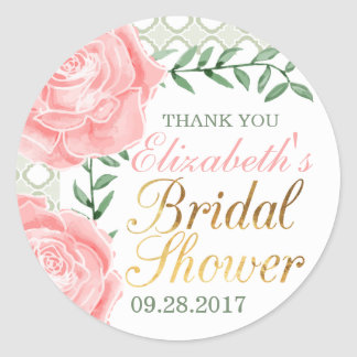 French Garden Roses Bridal Shower Favor Classic Round Sticker