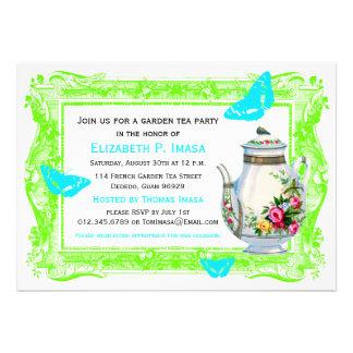French Garden Tea Party Custom Announcements