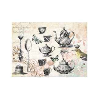 French Garden Tea Party stretched canvas