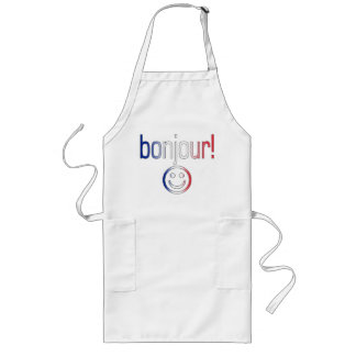 French Gifts : Hello / Bonjour + Smiley Face Long Apron