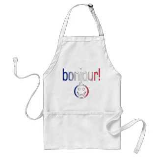 French Gifts : Hello / Bonjour + Smiley Face Adult Apron