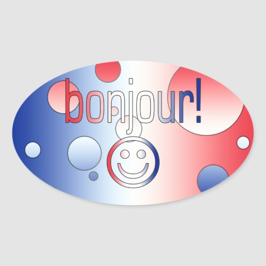 French Gifts : Hello / Bonjour + Smiley Face Oval Sticker