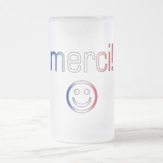 French Gifts : Thank You / Merci + Smiley Face Frosted Glass Beer Mug