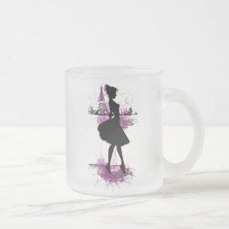 French girl 10 oz frosted glass coffee mug