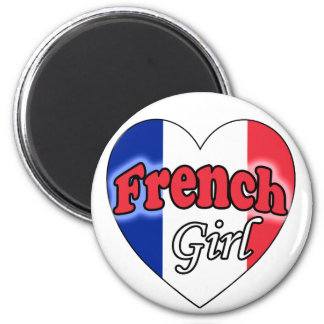 French Girl 2 Inch Round Magnet