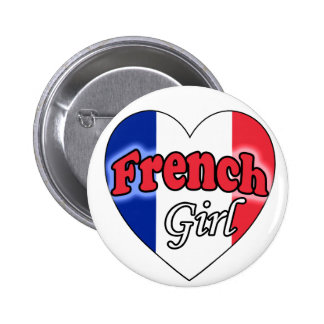 French Girl Pinback Button