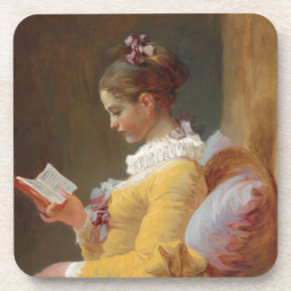 French Girl in Yellow Dress Reading Drink Coaster
