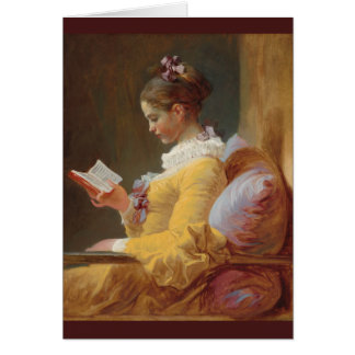 French Girl in Yellow Dress Reading Greeting Card