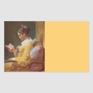 French Girl in Yellow Dress Reading Rectangular Sticker