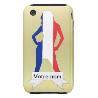 French girl on gold background tough iPhone 3 case