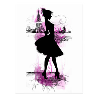 French girl postcard