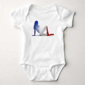 French Girl Silhouette Flag Baby Bodysuit