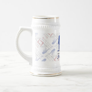 French Girl Silhouette Flag Beer Stein