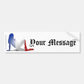 French Girl Silhouette Flag Bumper Sticker