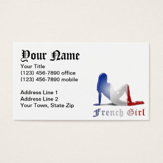 French Girl Silhouette Flag Business Card