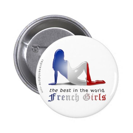 French Girl Silhouette Flag Pinback Buttons