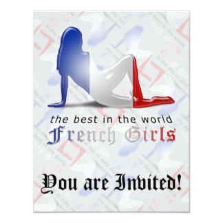 French Girl Silhouette Flag Card