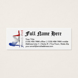 French Girl Silhouette Flag Mini Business Card