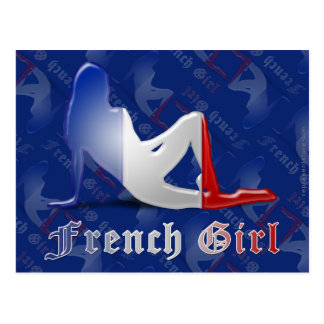 French Girl Silhouette Flag Postcard