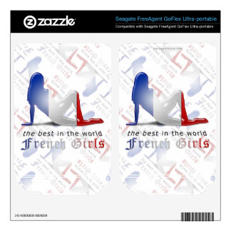 French Girl Silhouette Flag Skin For FreeAgent GoFlex