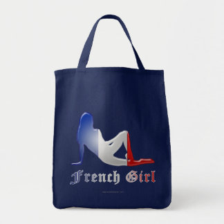 French Girl Silhouette Flag Tote Bag
