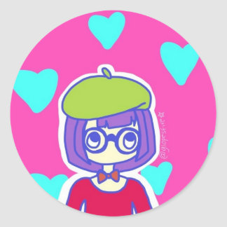 French Girl Classic Round Sticker