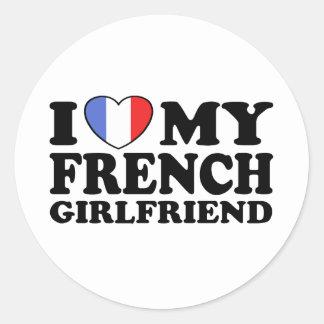 French Girlfriend Round Stickers