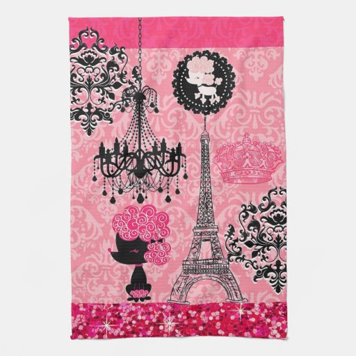French Girly Eiffel Tower, Puppy & Damask Elegant Hand Towels