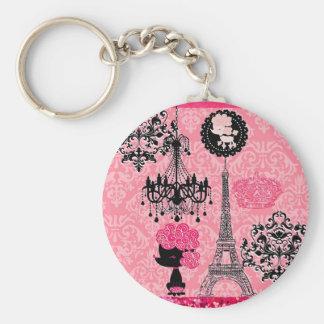 French Girly Eiffel Tower, Puppy & Damask Elegant Keychain